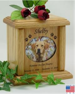 Horizontal Oval Wood Pet Cremation Urn