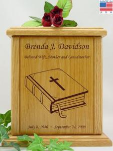 Closed Bible Wood Cremation Urn