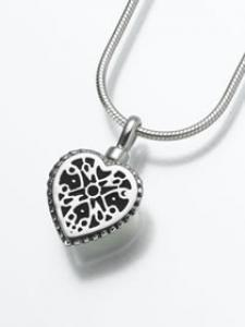 Filigree Heart Pendant Cremation Urn