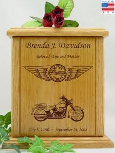 Forever Riding Motorcycle Wood Cremation Urn