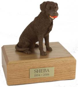Chocolate Lab with Ball Figurine Cremation Urn
