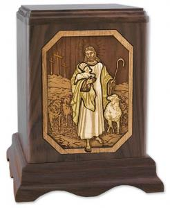 Lord is My Shepherd Cremation Urn Wood Inlay