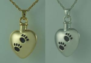 Heart with Black Paws Cremation Urn Pendant
