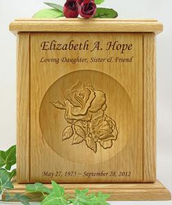 Double Rose Wood Cremation Urn