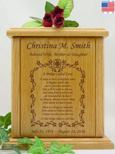 Vine Border with Poem Wooden Cremation Urn