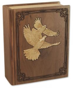 Inlaid Doves Hardwood Cremation Urn
