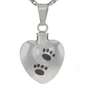 Stainless Steel Heart Pendant with Black Paws