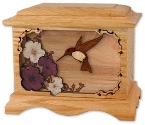 Hummingbird III Wood Cremation Urn