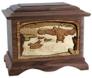 Ducks and Lake Wood Cremation Urn