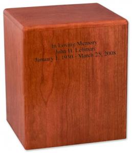 Simplicity Wood Cremation Urn Holds TCC