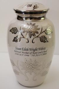 Pearl White Florentine Brass Cremation Urn