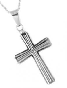 Stainless Steel Double Cross Pendant Cremation Urn