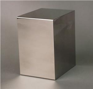 Polished Stainless Steel Cube Cremation Urn