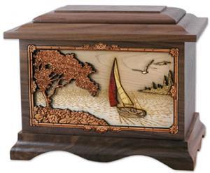 Sailing Away Wood Cremation Urn