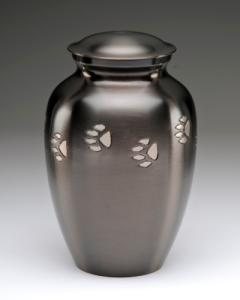 Brass Pet Cremation Urn with Silver Paws