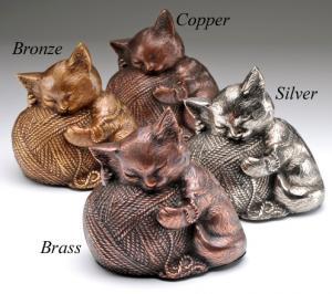 Sleeping Kitty Cremation Urn with Yarn