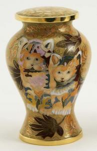 Cloisonne Cat Cremation Urn