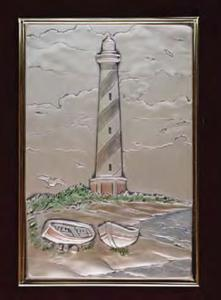 Hatteras Lighthouse Hand Painted Sterling Silver Applique