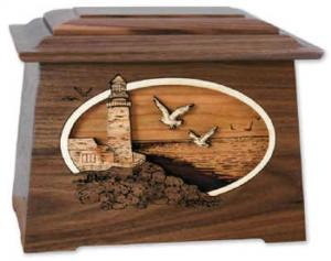 Sea Coast Wooden Cremation Urn