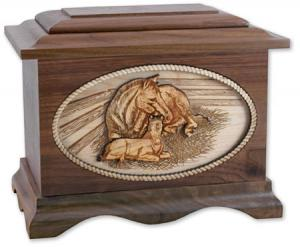 Mare and Foal Wooden Cremation Urn