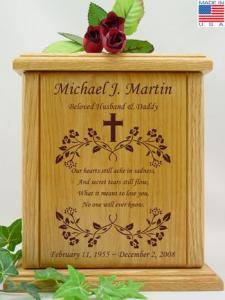 Cross and Poem Wood Cremation Urn