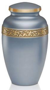 Silver Blue Adult Brass Cremation Urn