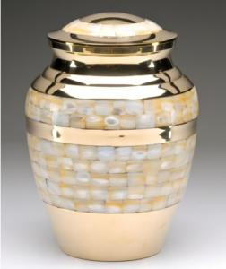 Polished Brass Mother of Pearl Cremation Urn