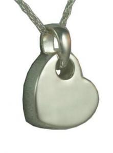 Silver Sideways Heart Pendant Cremation Urn