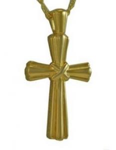 Gold Stalk Cross Pendant