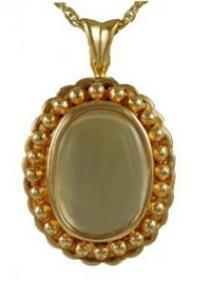 Gold oval Glass locket Cremation Urn