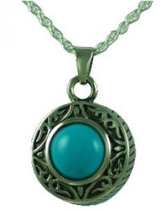 Turquoise Round jewelry Cremation Urn pendant