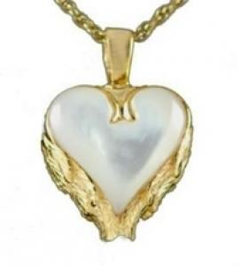Gold Heart with Angel Wing Mother of Pearl Pendant Cremation Urn