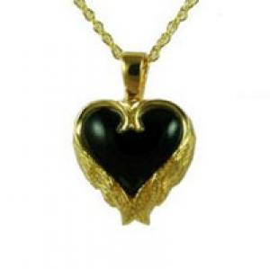 Gold heart with angel wing onyx stone pendant Cremation Urn