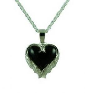 Heart with angel wing onyx stone pendant Cremation Urn
