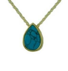 Gold turquoise teardrop Pendant Cremation Urn