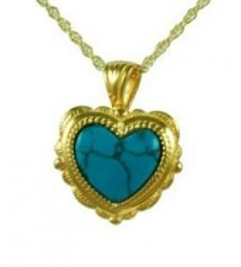 Gold heart with turquoise stone jewelry Cremation Urn