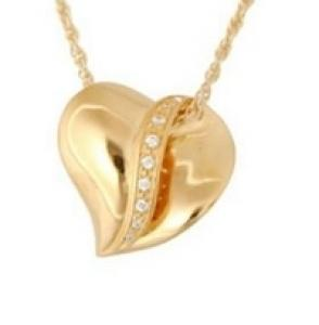 Gold slider heart with stones jewelry Cremation Urn