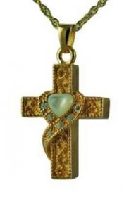 Gold cross with heart mother of pearl pendant Urn