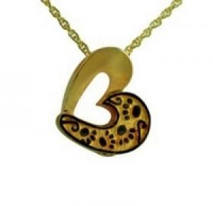 Gold heart with paws pendant Cremation Urn