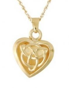 Gold celtic heart jewelry Cremation Urn