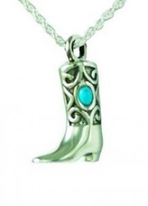 Boot with turquoise stone pendant Cremation Urn