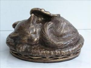 Angel Winged Kitty Cremation Urn - Bronze