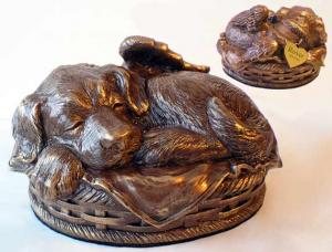 Angel Winged Puppy Cremation Urn Bronze