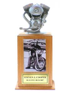 Motorcycle Engine Cremation Urn Tower - Silver