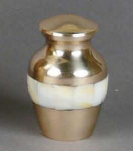 Mother of Pearl Brass Keepsake Cremation Urn