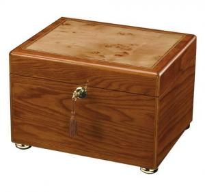 Oak with Inlaid Burl Memory Chest Cremation Urn