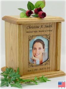 Rectangular Photo Frame Wood Cremation Urn