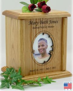 Wavy Oval Photo Frame Wood Cremation Urn
