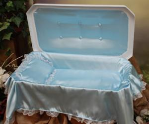 Plush Large White/Blue Pet Casket