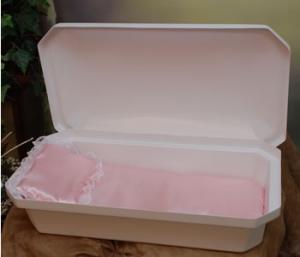 At Peace Medium White/Pink Pet Casket